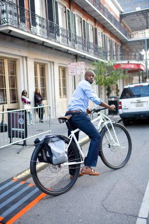 """6'8"""" Adam Walker at the NBA All Star Weekend in New Orleans on the new Steel DirtySixer."""