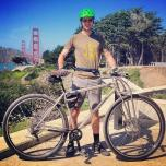 "6'10"" Alex Leanse, test rider for DirtySixer at the Golden Gate Bridge."