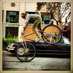 """6'6"""" founder of DirtySixer showing how to do a stoppie."""