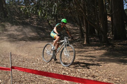 """6'10"""" Alex (one of our test rider) racing at the MacLaren MTB Race in San Francisco."""