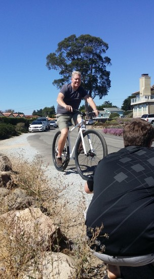 """6'8"""" James riding the production DirtySixer for our cameraman."""