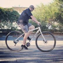 """6'8"""" Drew test riding the production version of the DirtySixer."""