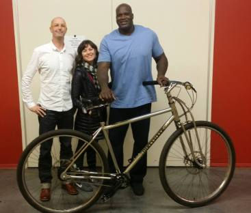Shaquille receive his own custom DirtySixer bike at Turner Studios in December 2015.