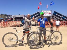 """6'10"""" Alex (one of our test rider) and David founder of DirtySixer, after the Sea Otter race in 2014."""