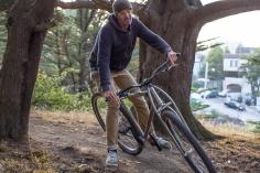 "6'6"" DirtySixer founder riding in MacLaren Park with the titanium prototype."