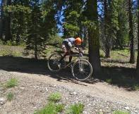 """6'6"""" founder bombing downhill at Downieville with the titanium DirtySixer prototype."""