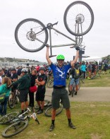 """6'10"""" Alex (one of our test rider) after the race at Sea Otter Classic."""