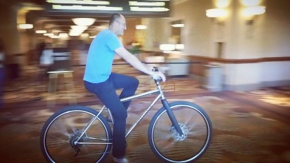 """Fred Roberts, 6'10"""" on the DirtySixer at the NBRPA event in Las Vegas, July 2016."""