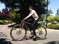 "6'11"" Luckasz riding the titanium DirtySixer in Mountain View, CA."