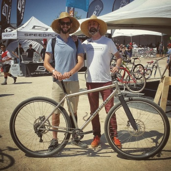"6'10"" Alex (one of our test rider) and David DirtySixer founder (6'6"") at the Sea Otter Classic."