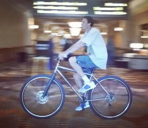 """Keith Closs, 7'3"""" on the DirtySixer at the NBRPA event in Las Vegas, July 2016."""