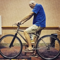 "Mark Eaton, 7'4"" on the DirtySixer at the NBRPA event in Las Vegas, July 2016."