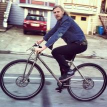 "6'8"" Matt riding the titanium DirtySixer in San Francisco."