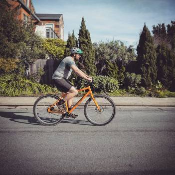 """Ryland, 6'5"""" riding the prototype 32er DirtySixer bikes in size M."""