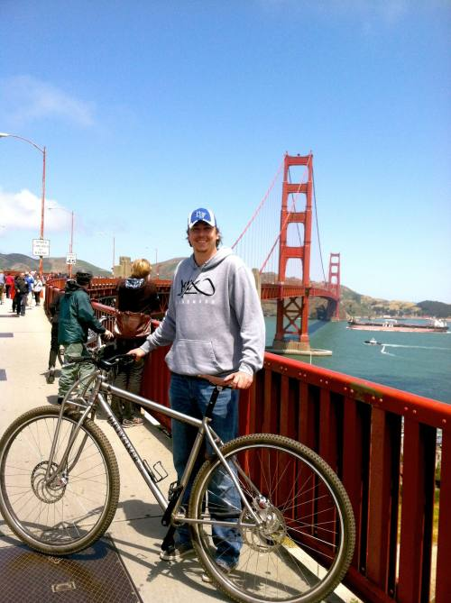 7footer Thomas after a ride in San Francisco.