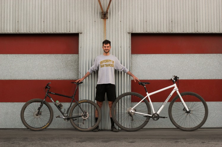 "6'10"" Alex Leanse our test rider with his XXL Surly Karate Monkey 29er bike."
