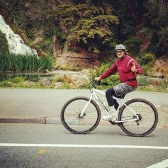 """Brad 6'8"""" test riding the 36er DirtySixer prototype before getting his own."""