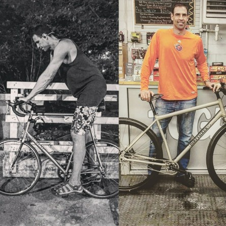"Eric, 7'3"" before on his 700c bike and now with his DirtySixer 36er size L."