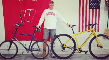 """6'8"""" Bob shows his old bike and his new DirtySixer."""